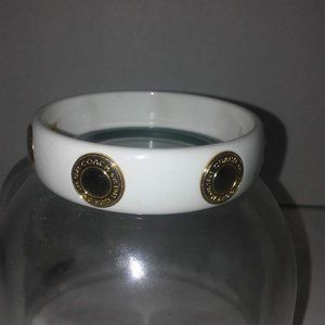 White Coach Bangle Bracelet with goldtone accents
